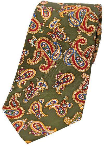 Sax Mens Vintage Paisley Tie Green