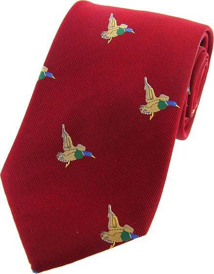 Sax Mens Woven Silk Tie Flying Ducks Red