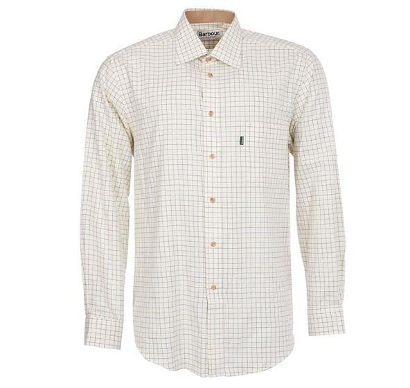 Barbour Mens Field Tattersall Shirt Green / Brown