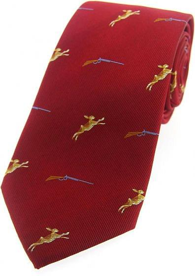 Sax Mens Woven Silk Tie Country Hares Red