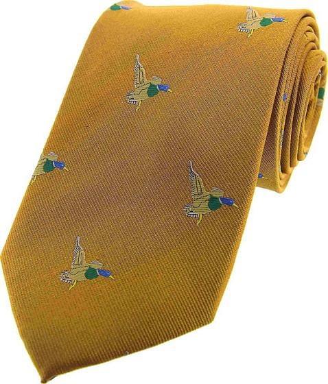 Sax Mens Woven Silk Tie Gold Flying Ducks Gold
