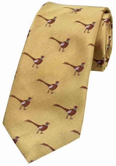 Sax Mens Woven Silk Tie Country Pheasant Gold