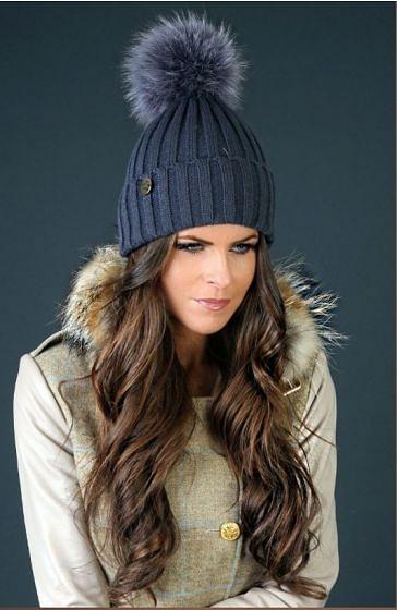 Holland Cooper Ladies Knit Bobble Hat Airforce Blue
