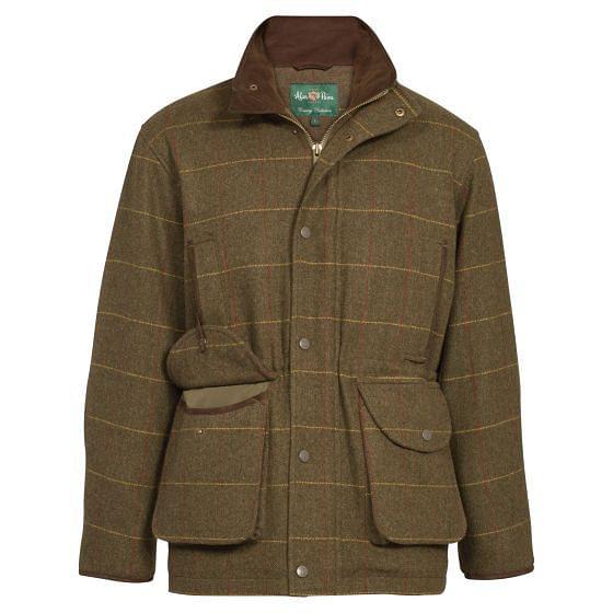 Alan Paine Mens Waterproof Tweed Compton Field Coat Forest Green