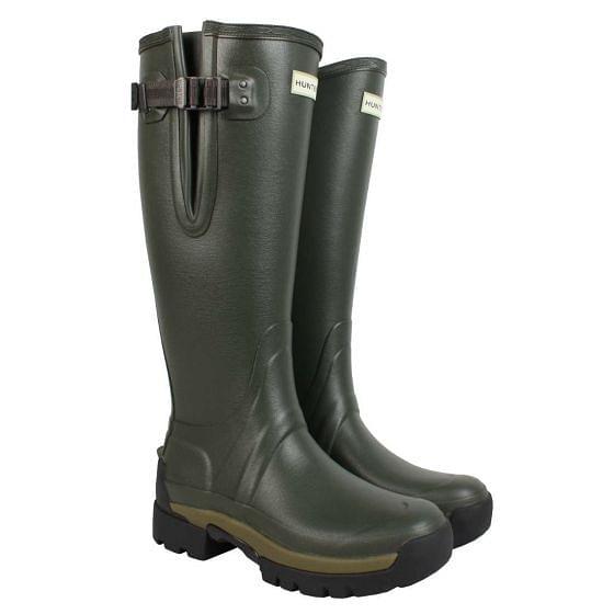 Hunter Womens Balmoral Side Adjustable Neoprene Wellington Boots Dark Olive