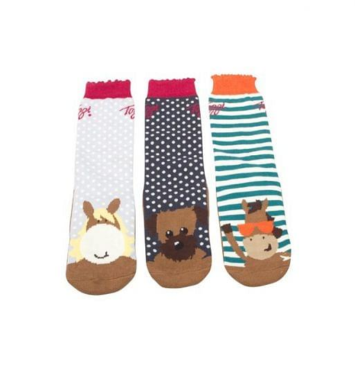 Toggi Childrens 3 Pack Lupin Character Socks