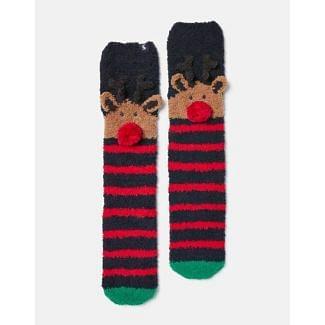 Joules Ladies Christmas Fluffy Socks
