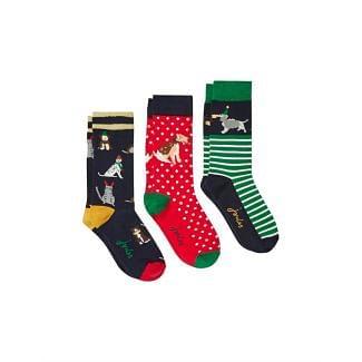 Joules Ladies Christmas Socks Pack Of 3