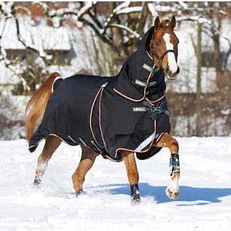 Horseware Rambo Optimo Heavweight Turnout Rug 400g Black/Orange