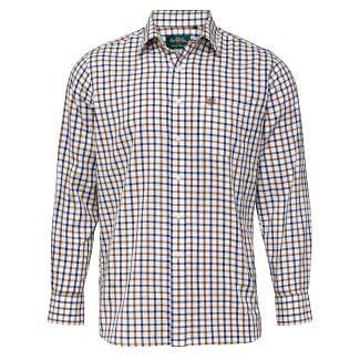 Alan Paine Mens Ilkley Check Shirt Brown