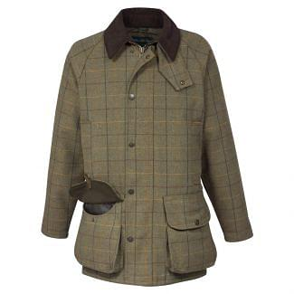 Alan Paine Mens Waterproof Rutland Tweed Field Coat Dark Moss