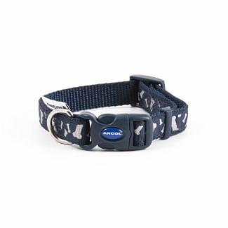 Ancol Blue Reflective Bone Dog Collar