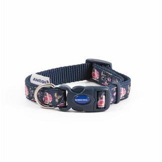 Ancol Navy Rose Adjustable Dog Collar