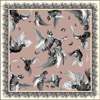 Clare Haggas Turf War Mini Monochrome Silk Square