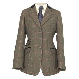 Shires Childrens Huntingdon Show Jacket Green / Pink Check