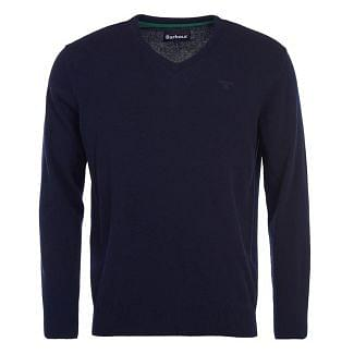 Barbour Mens Essential Lambswool V Neck Sweater Navy