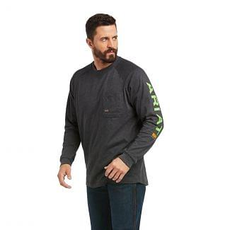 Ariat Mens Rebar Cotton Strong Graphic Long Sleeve T-Shirt-Charcoal Heather/Lime