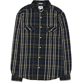 Wrangler Mens Long Sleeve 2 Pocket Flap Shirt Dusty Olive