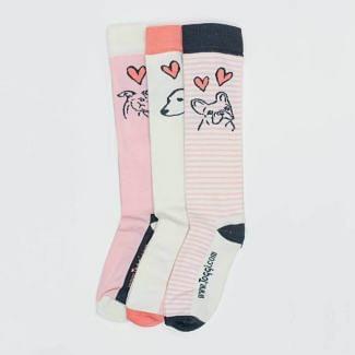Toggi Ladies 3 Pack Hearts & Dog Knee Socks