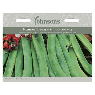 Johnsons Runner Bean Painted Lady Improved Seeds