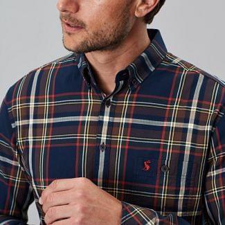 Joules Mens Hewitt Long Sleeve Peached Poplin Shirt