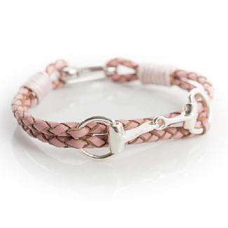 Hiho Silver Sterling Silver Snaffle Leather Bracelet Pink