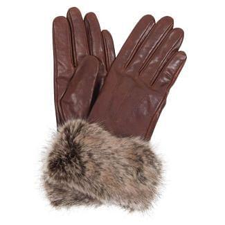 Barbour Ladies Fur Trimmed Leather Gloves   Chelford Farm Supplies