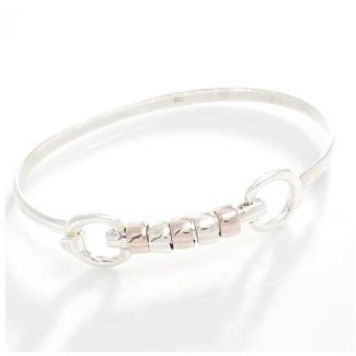 Hiho Silver Sterling Silver 18ct Rose Gold Cherry Roller Snaffle Bangle
