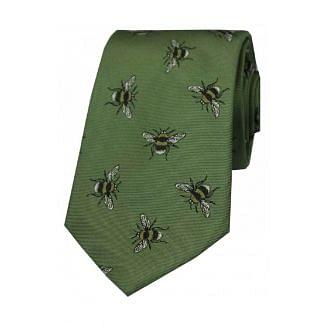 Sax Mens Bumble Bee Country Silk Tie Sage Green
